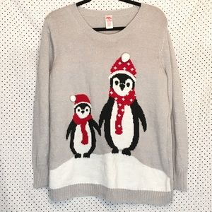 Holiday Time Penguins Long Sleeve Crewneck Sweater